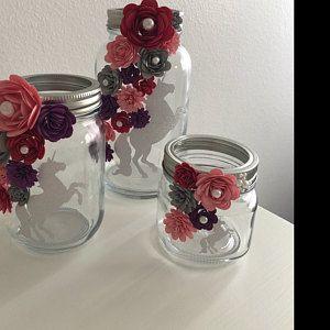 Paper Flower Jars Gold Pink Unicorn Flowers In Jars Paper