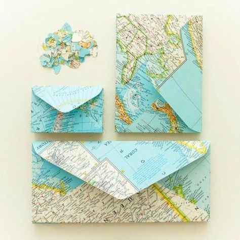 DIY map envelopes - make them picture (a little larger than sized to store the pictures from a special trip. Great gift for a couple getting married - use a map of the honeymoon location and fill with local currency! Map Crafts, Arts And Crafts, Crafts With Maps, Travel Crafts, Envelope Art, Envelope Templates, Ideias Diy, Mail Art, Paper Crafting