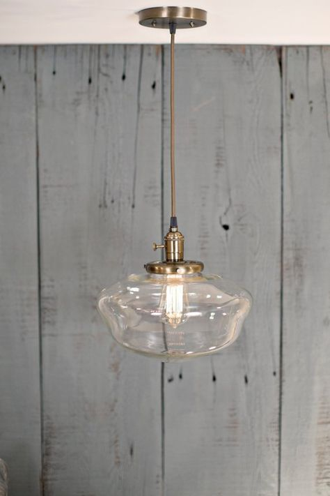 Pendant Light Schoolhouse Style Clear 12 Inch Pendant Light Pendant Lighting Light