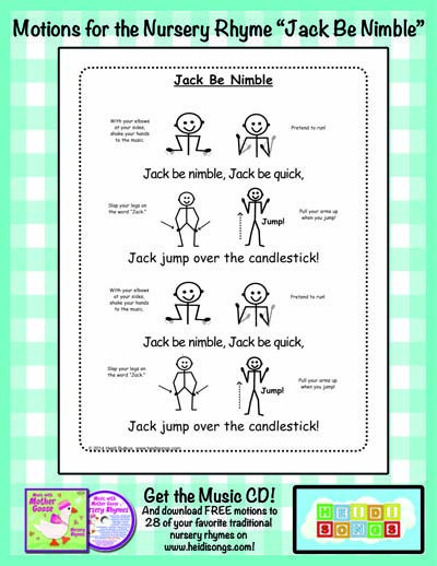 "Use these suggested movements for the nursery rhyme ""Jack Be Nimble"""