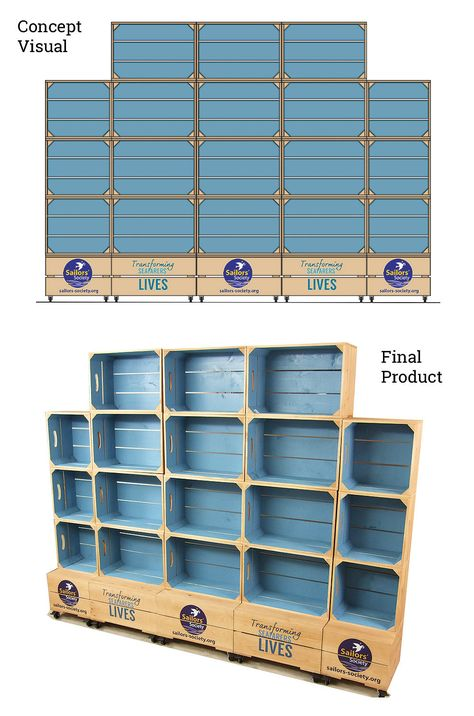 Great - inexpensive wood crate shelving and display unit. Could be made in to single sections for adaptation to smaller environments.  #popupelements #popupdisplay
