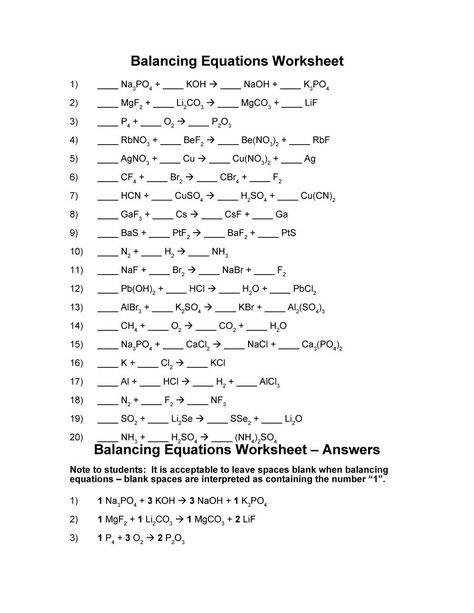 balancing equations 04 | Химия и Учебные заметки