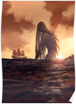 """and they say she was tall like a mountain, glistening in the setting sun, ancient and horrifying."""" It's and the ocean is scary. Mythical Creatures Art, Fantasy Creatures, Sea Creatures, Dark Fantasy Art, Fantasy Artwork, Fantasy World, Fantasy Queen, Space Fantasy, Arte Horror"""
