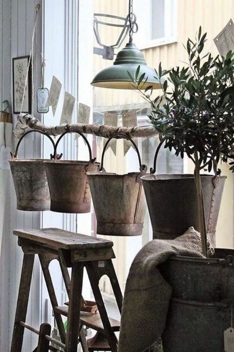 Would be lovely on a porch with the buckets full of flowers! VIBEKE DESIGN: Høst i Vibeke Design butikken !
