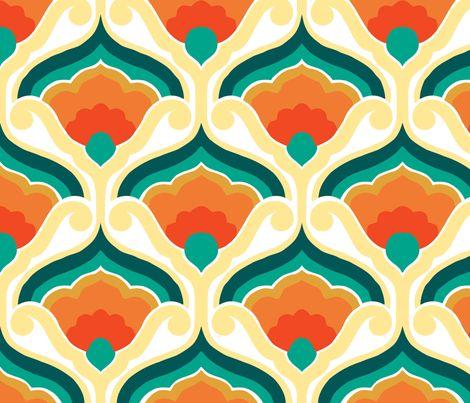 Retro fan blue fabric by myracle on Spoonflower - custom fabric