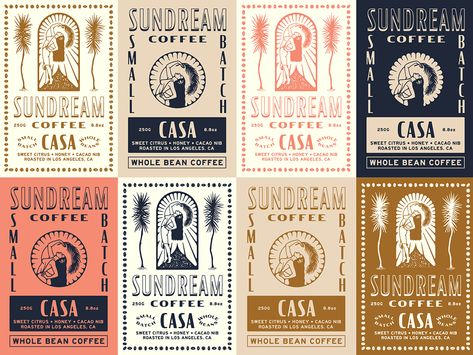 Sundream Coffee / Label Exploration designed by Jonathan Schubert. Connect with them on Dribbble; the global community for designers and creative professionals. Badge Design, Label Design, Packaging Design, Branding Design, Graphic Design, Coffee Packaging, Coffee Labels, Chocolate Packaging, Beer Labels