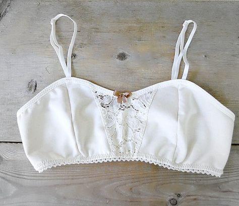 White organic cotton bra, vintage style bralette, organic underwear, cotton lace lingerie, organic l