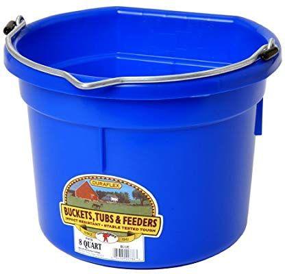 Amazon Com Miller Manufacturing P8fbblue Plastic Flat Back Bucket For Horses 8 Quart Blue Pet Supplies Plastic Buckets Little Giants Bucket