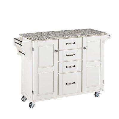 Millwood Pines Legler A Cart Kitchen Island With Granite Top Base Finish White White Kitchen Cart Kitchen Cart Kitchen Tops Granite