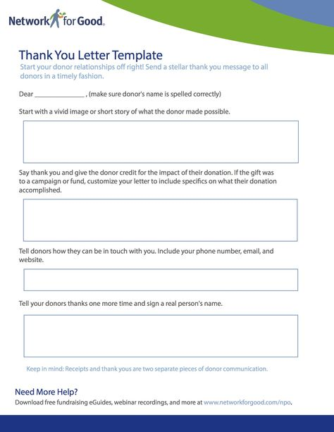 Thank You Letter Template #NetworkForGood Nonprofit - thank you letter template