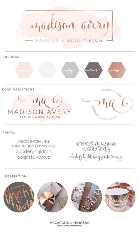 Script Calligraphy Rose Gold Blush Watercolor • Premade Submark Watermark Stamp • Blogger Photography Branding Kit Logo Design