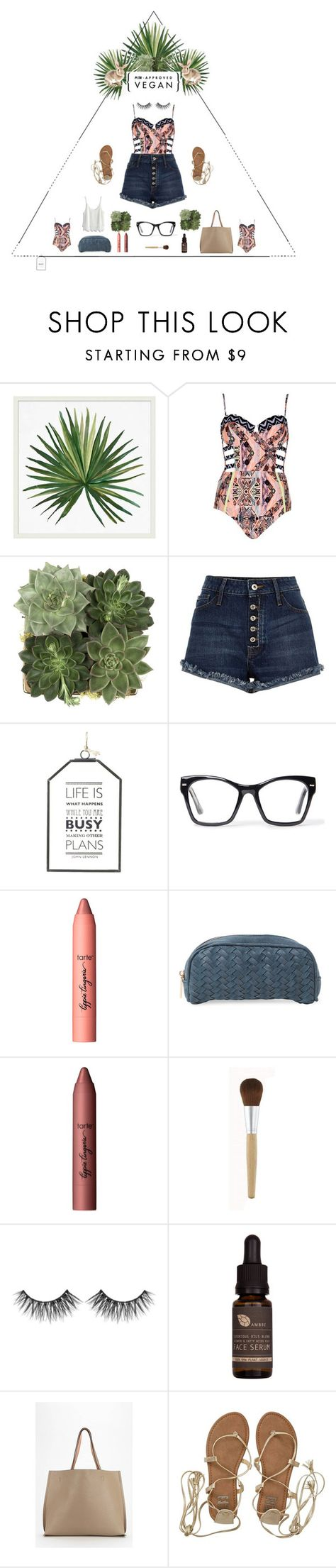 """Beach Party"" by fashion-frugavore on Polyvore featuring Pottery Barn, River Island, Jayson Home, Spitfire, tarte, Deux Lux, Huda Beauty, AMBRE, Urban Outfitters and Billabong"