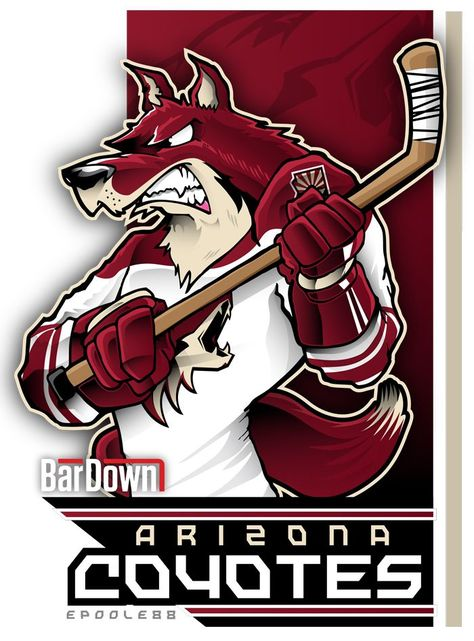 Here boy! Put the puck here!  The Arizona Coyotes, rendered by the mighty epoole88.  Check out his stuff at epoole88.tumblr.com