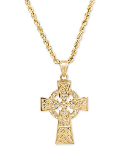 Macy S Celtic Cross Pendant Necklace In 14k Gold Reviews Necklaces Jewelry Watches Macy S Cross Pendant Cross Jewelry Pendant Necklace