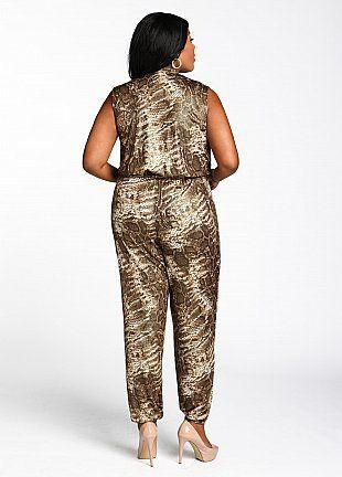 Plus Size Apparel » NOTABLE FASHIONS Ashley Stewart Web Exclusive: Animal Print Jumpsuit $24.49  Find @ www.notablefashions.com