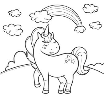 Cute Coloring For Kids With Unicorn In 2020 Unicorn Coloring Pages Unicorn Illustration Animal Coloring Pages