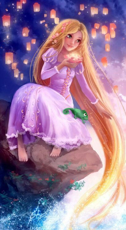 Rapunzel with Pascal and the floating lights of lanterns
