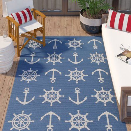 Breakwater Bay Jessa Nautical Schooner Blue White Indoor Outdoor
