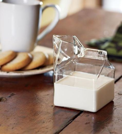 - It looks exactly like a milk carton but it is made of glass! - Glass Milk Carton Creamer brings funkiness to any style decor. - Everyone will get confused about how a milk carton can be made of glas Sweet Home, Half Pint, Milk Glass, Glass Jug, Glass Bottle, Glass Teapot, Glass Pitchers, Kitchen Gadgets, Kitchen Stuff