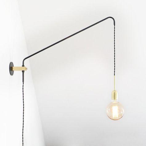 Brass And Oxidized Steel Minimal Modern Wall Lamp Potence Lamp Sconce Lamp Balance Lamp Lampade Da Parete Lampade Ottone