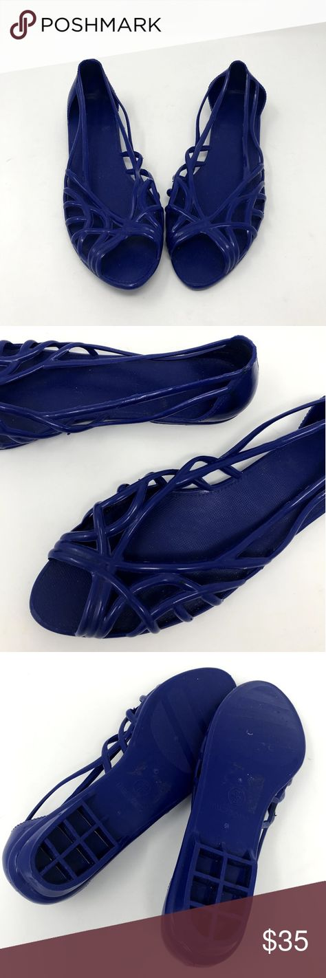 b969297cef73 Vintage jelly shoes Vintage 80s jelly peep toe shoes in a gorgeous blue.  Good Vintage
