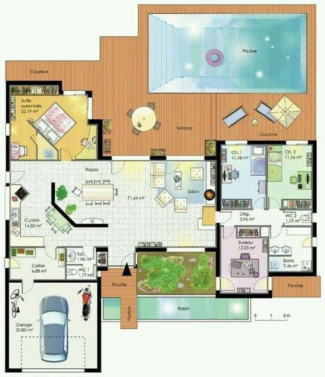 Plan maison plain pied ma maison Pinterest