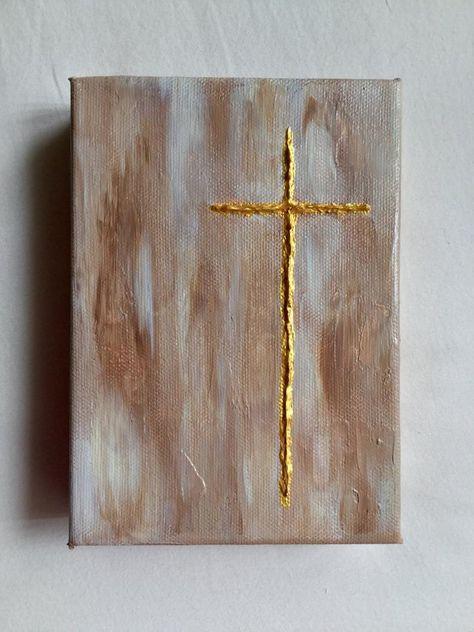 Read information on preschool crafts Christian Drawings, Christian Artwork, Religious Paintings, Cross Paintings, Religious Gifts, Religious Art, Cross Art, Texture Art, Diy Painting