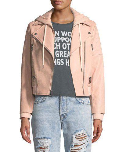 0d53e53ed ALICE + OLIVIA JEANS Avril Hooded Combo Sweatshirt Leather Jacket ...