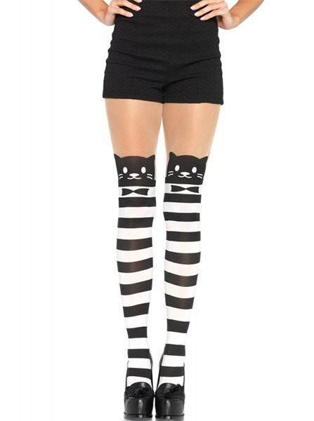 Cute Black Cat Stockings Adult Women Tights Halloween Costume Accessory Pantyhos