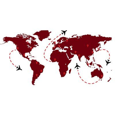 "The Decal Guru World Travel Flight Map Wall Decal Color: Burgundy, Size: 35"" H x 70"" W x 0.01"" D"