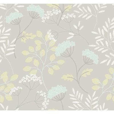 SCOTT LIVING Sorrel Light Grey Botanical Wallpaper