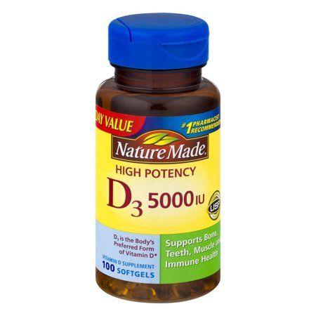 Nature Made Extra Strength Vitamin D3 125 Mcg 5000 Iu Softgels 100 Count For Bone Health Walmart Com Nature Made Vitamins Prenatal Health Vitamins
