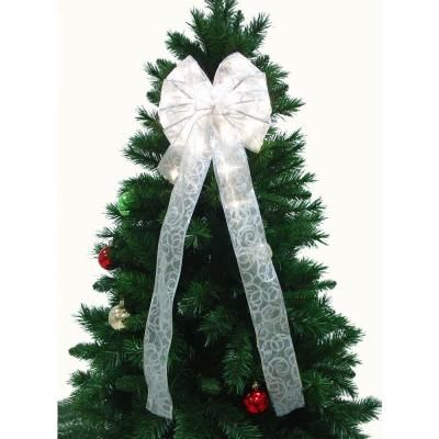 Starlite Creations 9 In White Ribbon Led 36 Light Bow In 2019 Ribbon Christmas Ribbon White Ribbon