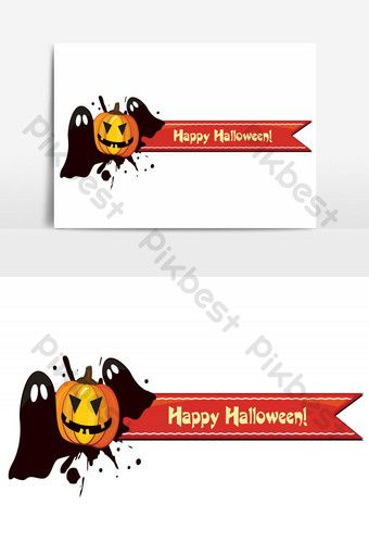 Happy Halloween Pumpkin With Horizontal Banner Vector Graphic Element Png Images Ai Free Download Pikbest Banner Vector Halloween Poster Happy Halloween