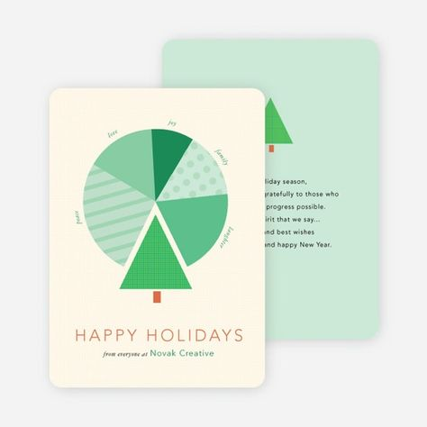 For a creative take on the ordinary corporate greeting cards look no further than Paper Culture's Tree Pie Chart for Business Holiday Cards.