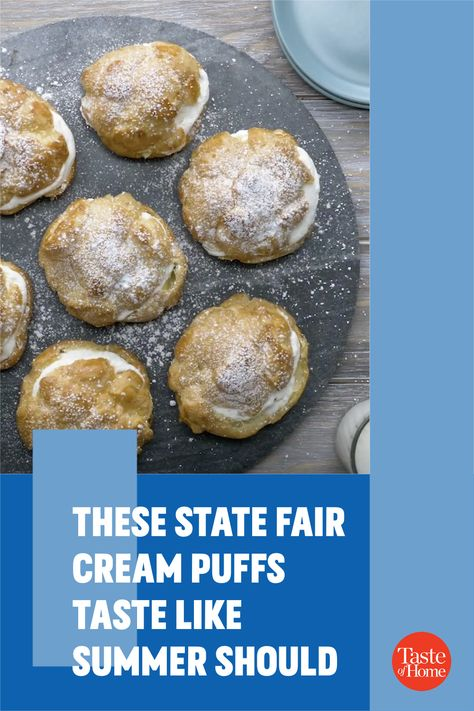 The Wisconsin Bakers Association has served this cream puff recipe at our state fair since 1924. —Ruth Jungbluth, Dodgeville, Wisconsin