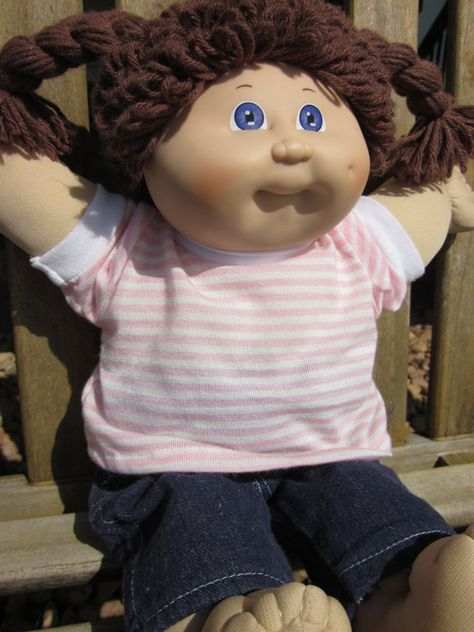 Vintage Cabbage Patch Kid~mine had brown hair like this one but green eyes I think?!