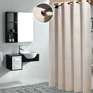 Details About Shower Curtain Cream Color Fabric Waterproof
