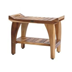Ecodecors Earthyteak Tranquility 24 In Teak Shower Bench With