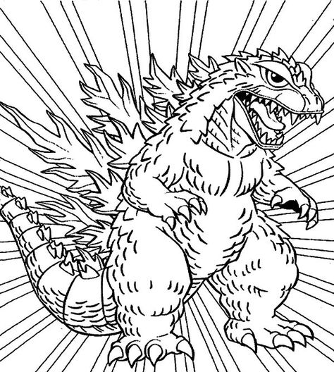 Godzilla Godzilla Coloring Pages For Kids Monster Coloring Pages Coloring Pages Godzilla Birthday