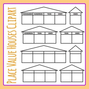 Place Value Houses Simple Clip Art Pack For Commercial Use Clip