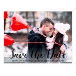 Save The Date Engagement Couple Photo Blk Script Postcard #weddinginspiration #wedding #weddinginvitions #weddingideas #bride