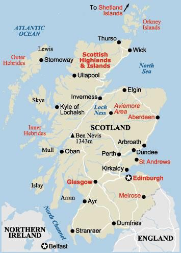 Map Of Scotland Husbandmyself And SisterinLaw Husbands - Where is aberdeen