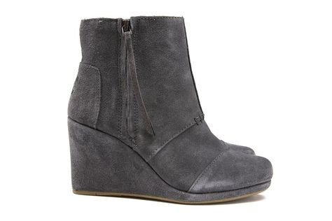Toms Women's Desert Wedge Hi in Dark Grey Suede Brand New in Box Sizes 5 10 | eBay