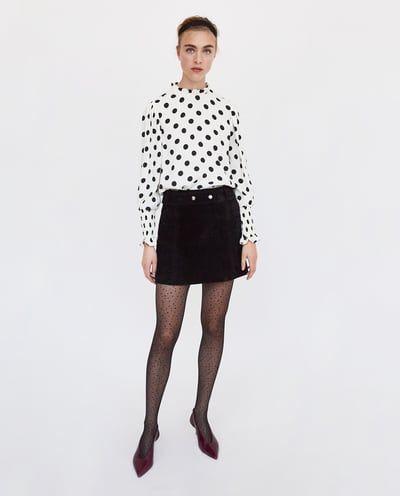 Blusa Lunares Volante última Semana Mujer Zara México мини юбка женская рубашка блузка с оборками