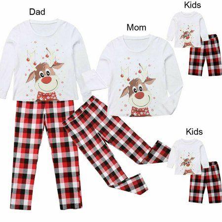 UK Family Matching Women Kids Christmas Pyjamas Xmas Nightwear Pajamas Sets 2019