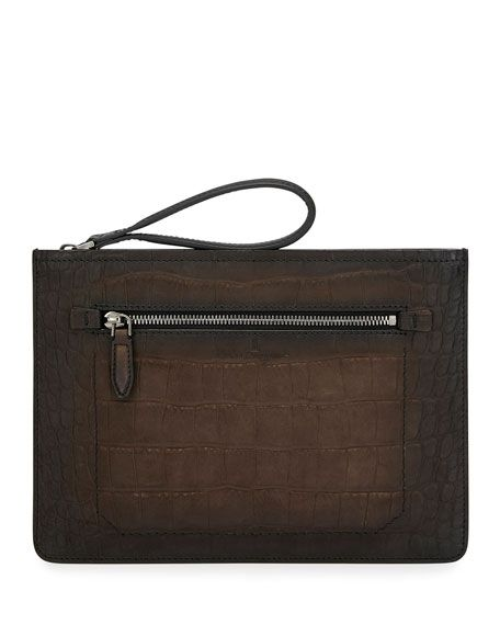 official photos 8203f 71234 Men's Firenze Croc-Stamp Leather Zip-Top Pouch | MiX ...