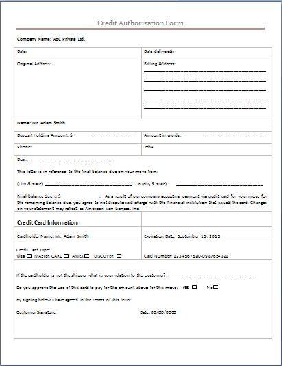 Credit Authorization Form Microsoft Templates Pinterest - work authorization form
