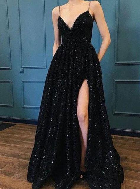 Shiny A Line Side Slit Black Sweetheart Spaghetti Straps Prom Dresses 2021 - As Photo / US8