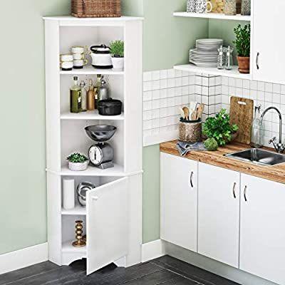 Amazon Com Prepac Elite Corner Storage Cabinet Tall 1 Door White Kitchen Dining Corner Storage Corner Storage Cabinet Home Kitchens